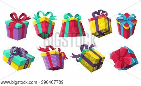 Collection Of Giveaway Winner Present. Gifts Poster For Social Media Post. Holidays And Shopping Giv