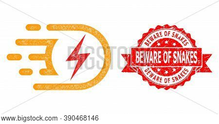 Wire Frame Electric Voltage Icon, And Beware Of Snakes Dirty Ribbon Stamp Seal. Red Stamp Includes B