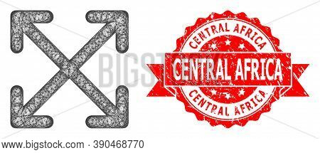 Net Enlarge Arrows Icon, And Central Africa Textured Ribbon Stamp Seal. Red Stamp Seal Includes Cent