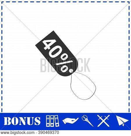 40 Percent Discount Icon Flat. Simple Vector Symbol And Bonus Icon