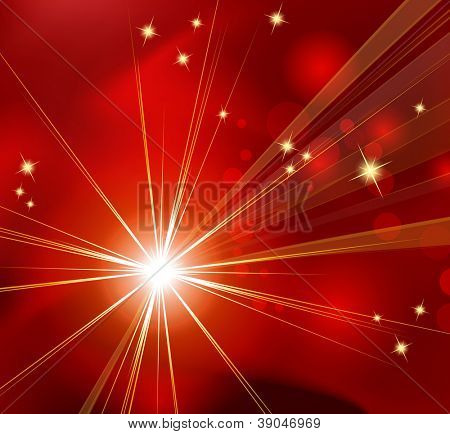 Red abstract background - sunburst, starburst - festive Christmas template