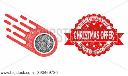 Network Falling Meteorite Icon, And Special Christmas Offer Corroded Ribbon Stamp Seal. Red Stamp Se
