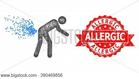 Wire Frame Farting Person Icon, And Allergic Dirty Ribbon Seal Print. Red Seal Has Allergic Title In