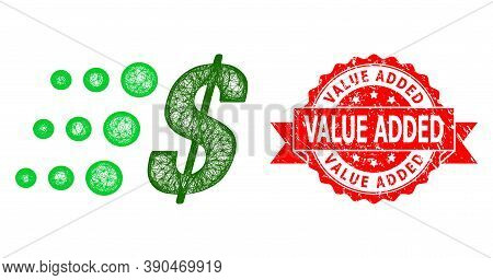 Network Fast Dollar Icon, And Value Added Unclean Ribbon Seal. Red Stamp Seal Has Value Added Text I