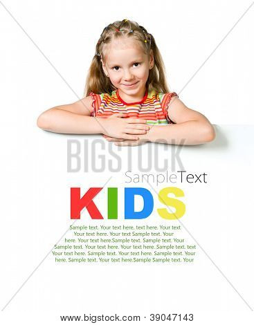 cute little girl behind a white banner with sample text
