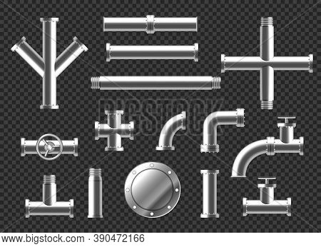 Pipes And Tubes Plumbing Fittings Realistic 3d Vector Set. Metal Or Plastic Pipeline With Valves, Th