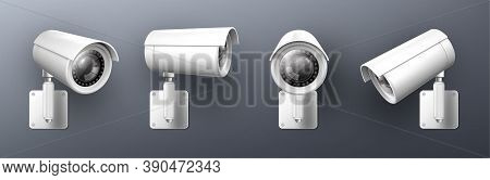 Security Cam, Cctv Video Camera, Street Observe Surveillance Equipment Front And Side Angle View. Se