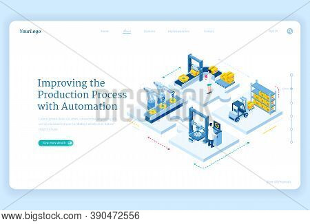 Production Process With Automation Isometric Landing Page. Factory Robotics Arms On Conveyor Belt, S