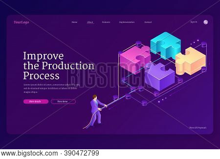 Teamwork Concept With Puzzle Pieces And Leverage. Improve Production Process Banner. Vector Landing