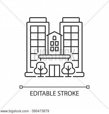 Condominium Pixel Perfect Linear Icon. Tall Building. High House. Skyscraper Complex. Thin Line Cust