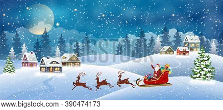 Christmas Landscape With Snow-covered Houses And Santa Claus In Sleigh. Christmas Holiday Village Sc