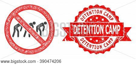 Wire Frame Forbidden Slavery Icon, And Detention Camp Grunge Ribbon Stamp Seal. Red Stamp Seal Has D
