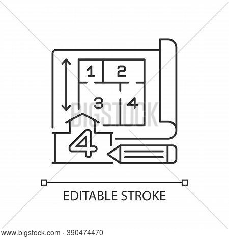 Number Of Rooms Pixel Perfect Linear Icon. Architect Plan Of Building. Real Estate Structure. Thin L