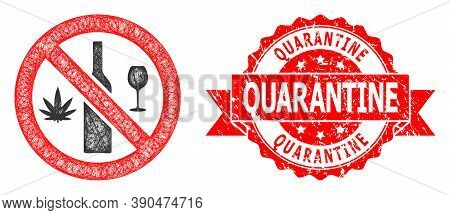 Network Forbidden Wine Drugs Icon, And Quarantine Rubber Ribbon Stamp Seal. Red Stamp Seal Has Quara