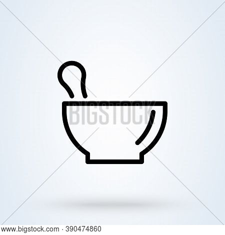 Pharmacy, Pestle And Mortar Line Icon Or Logo. Mortar Pestle Concept. Pharmacy Vector Linear Illustr