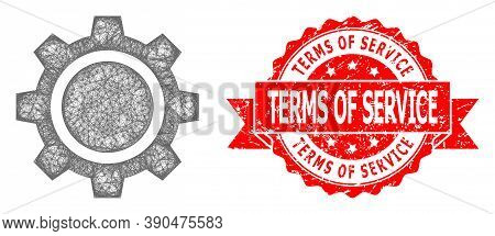 Network Gear Wheel Icon, And Terms Of Service Dirty Ribbon Stamp Seal. Red Stamp Seal Contains Terms