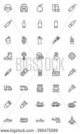 Military And Army Line Icons Set. Linear Style Symbols Collection, Outline Signs Pack. Vector Graphi