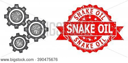 Wire Frame Gears Icon, And Snake Oil Rubber Ribbon Stamp. Red Stamp Seal Has Snake Oil Title Inside