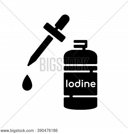 Iodine Black Glyph Icon. Fluid Cleanser In Bottle. Treatment For Wound. First Aid Supplement. Sanita
