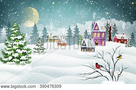Vintage Christmas Village Houses Covered With Snow In A Pine Forest And Bullfinches On A Branch. Win