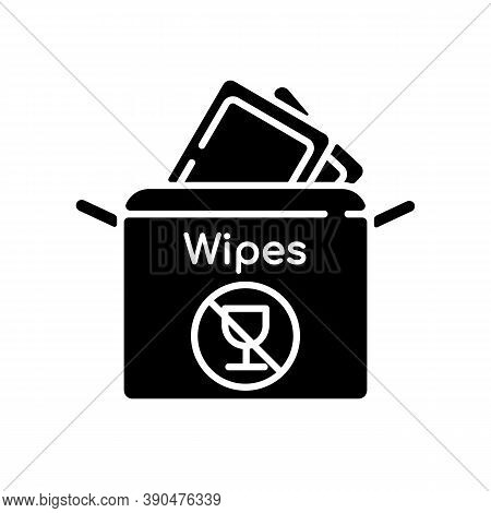 Alcohol Free Wipes Black Glyph Icon. Disinfectant Paper Towels. Sanitation Tissues For Hygiene. Cosm