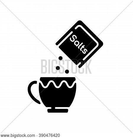 Oral Rehydration Salts Black Glyph Icon. Medical Salts For Diarrhea Treatment. Dehydration Remedy. P