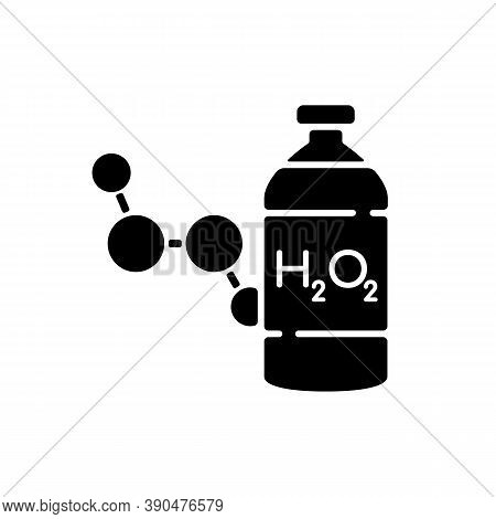 Hydrogen Peroxide Black Glyph Icon. Medical Cleanser To Treat Wound. First Aid Medication. Fluid Con