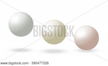 Spherical Oyster Pearls. White 3d Sphere. Vector Realistic Ball. Circle Blank Pearlwith Shadow. Plas