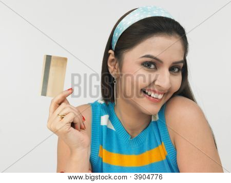 Woman Of Indian Origin  With Credit Card