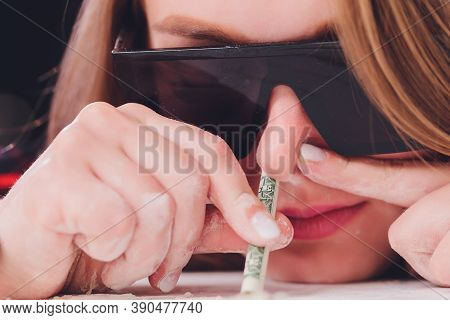 Swag Girl Sniffing Cocaine Imitation, Flour . Blonde Woman Stoned. White Background.
