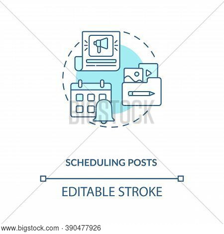 Scheduling Posts Concept Icon. Becoming Nanoinfluencer Tip Idea Thin Line Illustration. Social Media