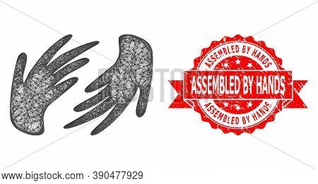Wire Frame Hands Icon, And Assembled By Hands Scratched Ribbon Stamp. Red Stamp Includes Assembled B