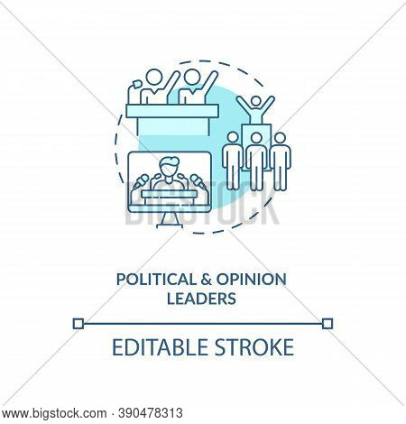 Political And Opinion Leader Concept Icon. Influencers Type Idea Thin Line Illustration. Public Opin