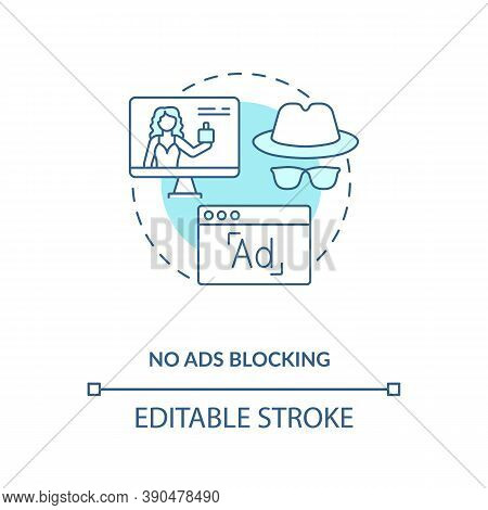 No Ads Blocking Concept Icon. Influencer Marketing Benefit Idea Thin Line Illustration. Challenges T