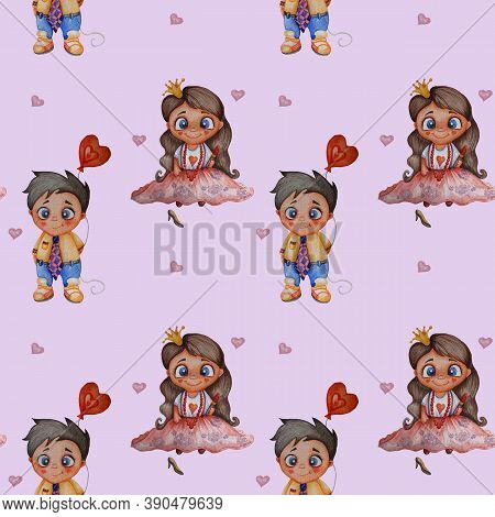 Cute Kids Collection. Seamless Patterns. A Couple In Love - A Girl-princess With Long Hair Around He