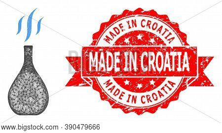 Wire Frame Incense Vial Icon, And Made In Croatia Dirty Ribbon Seal Imitation. Red Stamp Seal Contai