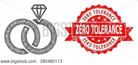 Wire Frame Jewelry Wedding Rings Icon, And Zero Tolerance Grunge Ribbon Seal Imitation. Red Stamp Se