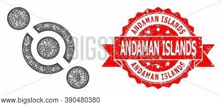 Wire Frame Joint Connector Icon, And Andaman Islands Dirty Ribbon Seal Imitation. Red Stamp Seal Has