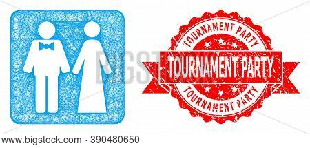Net Just Married Persons Icon, And Tournament Party Scratched Ribbon Seal. Red Stamp Seal Includes T