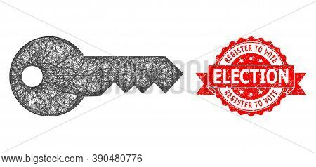 Network Key Icon, And Register To Vote Election Textured Ribbon Stamp Seal. Red Stamp Seal Has Regis