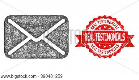 Wire Frame Letter Icon, And Real Testimonials Rubber Ribbon Seal. Red Stamp Contains Real Testimonia