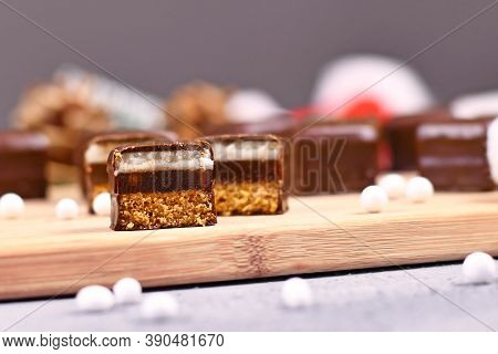 German Traditional Sweets Called 'dominosteine'. Food Sold Around Christmas Season Consisting Of Gin