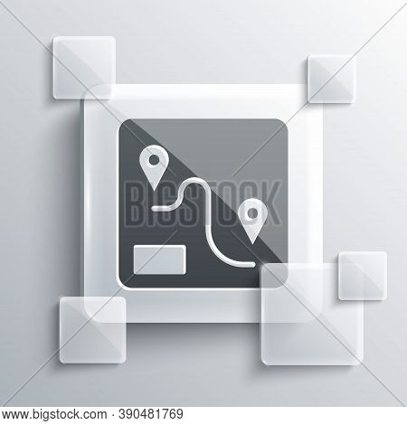 Grey Route Location Icon Isolated On Grey Background. Train Line Path Of Train Road Route With Start