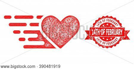 Wire Frame Love Heart Icon, And 14th Of February Rubber Ribbon Stamp Seal. Red Stamp Seal Includes 1