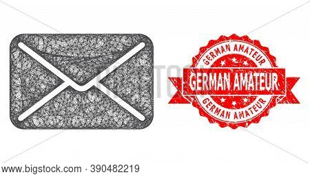 Wire Frame Mail Icon, And German Amateur Grunge Ribbon Stamp. Red Stamp Includes German Amateur Capt