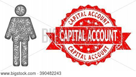 Network Man Icon, And Capital Account Corroded Ribbon Stamp Seal. Red Stamp Has Capital Account Titl