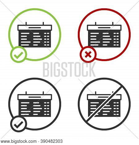 Black Train Station Board Icon Isolated On White Background. Mechanical Scoreboard. Info Of Flight O