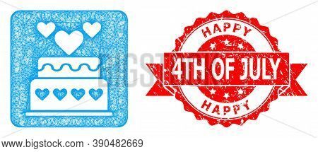 Wire Frame Marriage Cake Icon, And Happy 4th Of July Grunge Ribbon Stamp Seal. Red Stamp Seal Contai