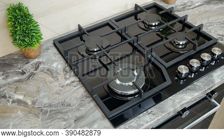 Modern Gas Stove Wok Burner For A Large Pan . Double Gas Burner Wok. The Style Of The Kitchen.  Mode