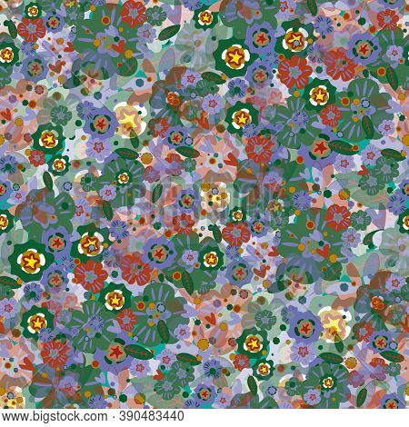 Hand-drawing Many Flowers Of Seamless Multicolored Pattern.